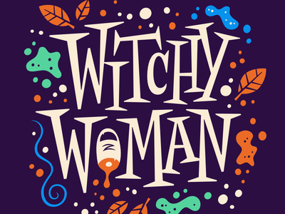 Witchy Woman potion mid century hocus pocus halloween lettering witch