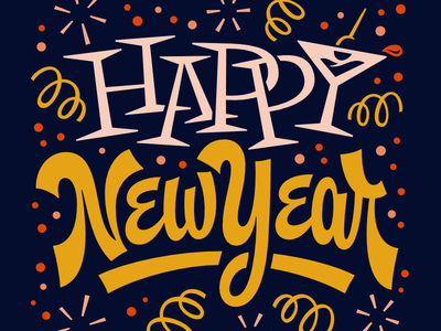 Happy New Year party midcentury script 2018 new years lettering
