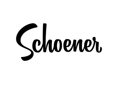 Schoener Logotype upright lettering midcentury script brushscript logotype