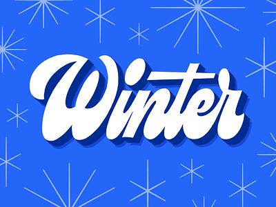 Winter midcentury starburst 70s winter logotype script type lettering