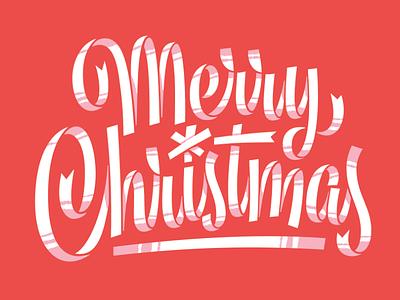 Merry Christmas illustration midcentury christmas ribbon script type lettering
