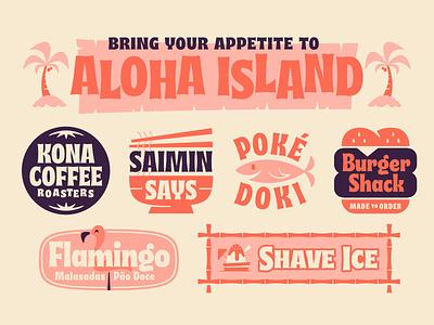 Aloha Island logo island hawaii aloha halloween tiki font type musubi