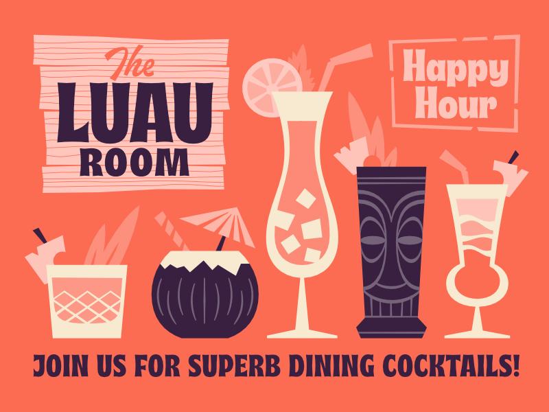 The Luau Room 60s tropical hawaii font mai tai happy hour cocktail tiki luau musubi