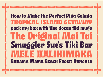 Musubi Samples display type cocktail mai tai funky typography font 70s 60s tropical island hawaii tiki musubi