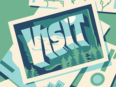 Visit 3d type shadow type brochure travel visit washington postcard midcentury type lettering