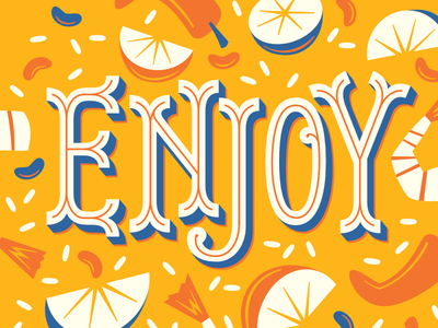 Enjoy midcentury celebration shadow type limes food mexican enjoy 3d type type lettering