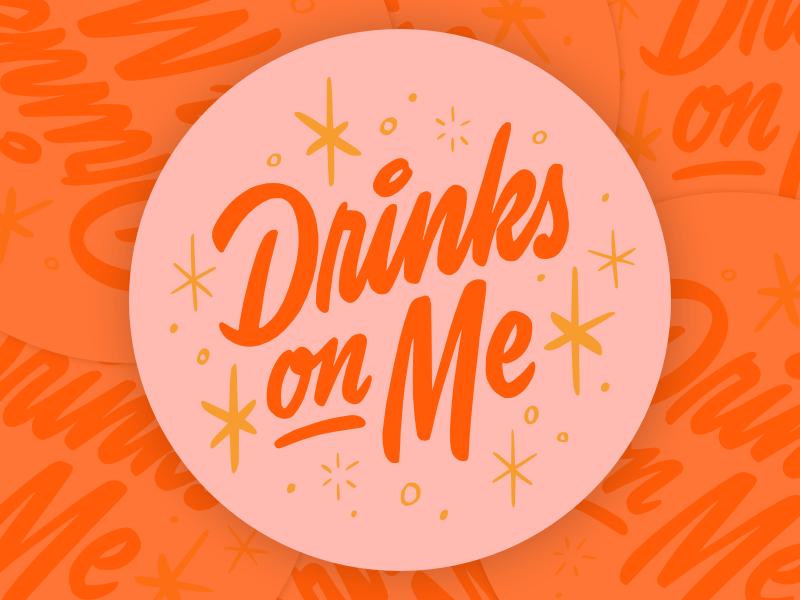 Drinks On Me type drinks cocktail brush script coaster logotype mid century script lettering