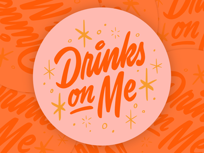 Drinks On Me type drinks cocktail brush script coaster logotype mid century script lettering