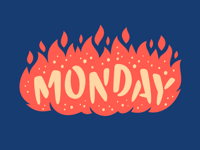 Facebook Stickers: Monday type illustration lettering facebook fire sticker monday