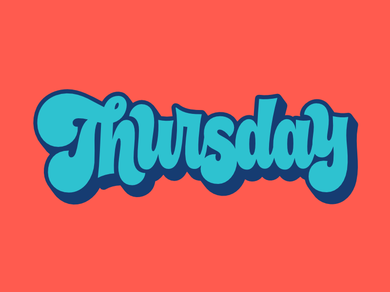 Facebook Stickers: Thursday chunky groovy 70s logotype illustration lettering thursday sticker facebook