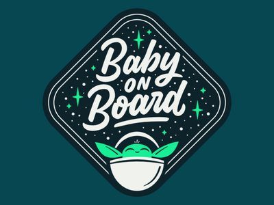Baby On Board logotype vector mandalorian yoda baby script type lettering brushscript star wars