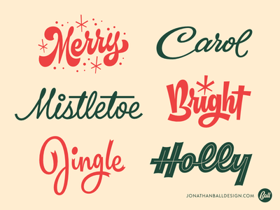 Scriptmas Collection • Days 1-6 lettering type script logotype vector merry midcentury carol mistletoe bright jingle