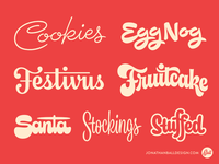 Scriptmas Collection • Days 19-25 lettering type script midcentury logotype logo stuffed stockings fruitcake festivus egg nog cookies
