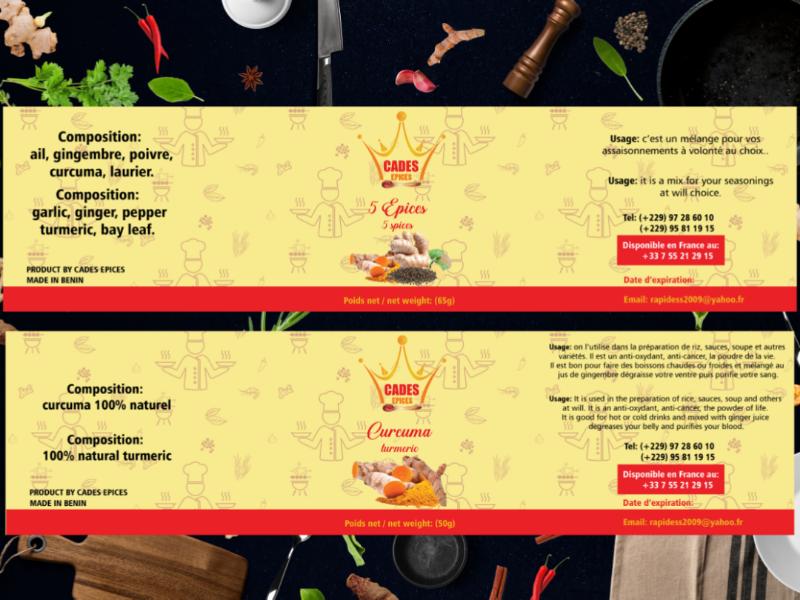 Label design for CADES EPICES products epices label étiquette design