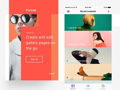 Format Galleries — New Look! gallery redesign sign up clean stack layout portfolio app mobile