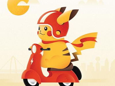 Cruisin' pika helmet red yellow sunny sunshine dallas cruising moped illustration pikachu