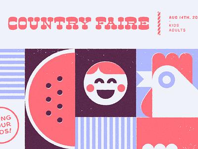 Discord Country Faire family night chicken geometric fair country eventbrite invite invitation blurple brand design illustration discord