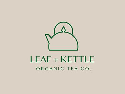 Leaf and Kettle Logo logotype drink food and beverage logo design tea logo