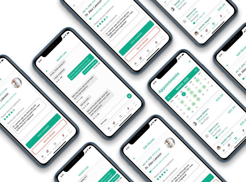 AH Care Mobile App telehealth ui design mockup modern medical app medical interface design uidesign mobile design mobile design ui adobexd product design