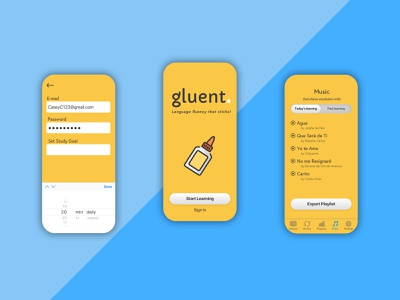 Language-learning with gluent. product design memory learning language app mobile ui ux