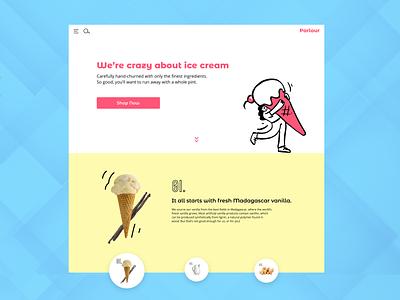 Parlour Ice Cream website product design desktop user interface playful ice cream ui