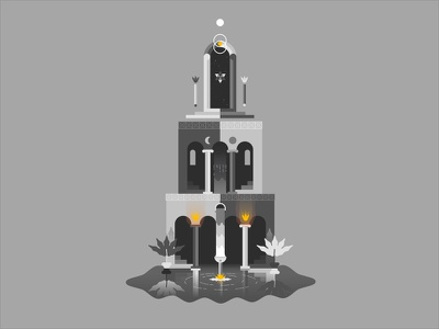 The Mirage Tower staircase moon sun game illustration door mirror water fire magic temple tower