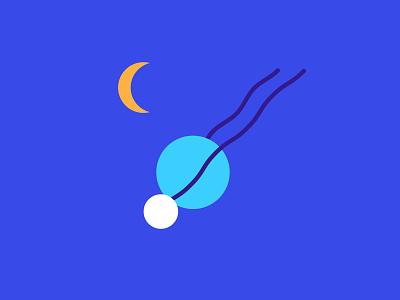 Myself flying through space circle portrait blue water sun moon flat illustration