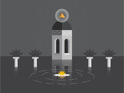 Azulejos en el Valle water column sun moon door temple fire flat illustration