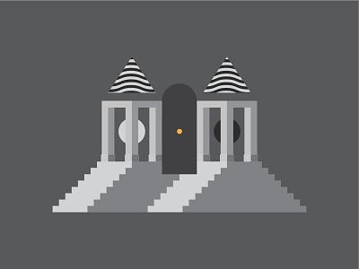 Not today water column sun moon door temple fire flat illustration