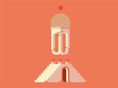 Plato's Garden water column sun moon door temple fire flat illustration