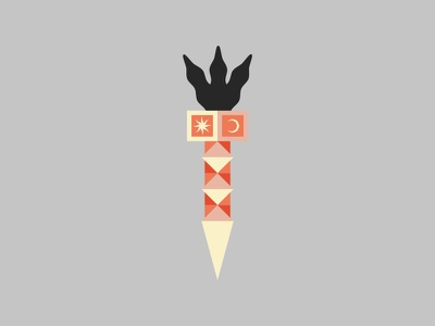 Black torch magic temple torch fire illustration design character 2d flat kaleidoscope