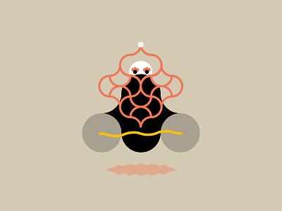 Aloo Baba beard ermit wizar aloo baba door graphic sun design moon illustration