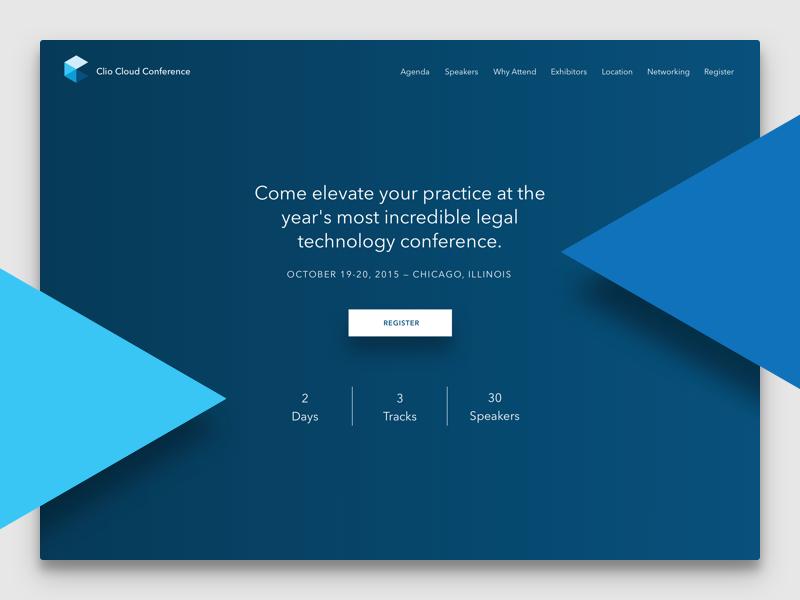 Clio Cloud Conference 2015 conference home page landing web website web design shadow shape dark ui
