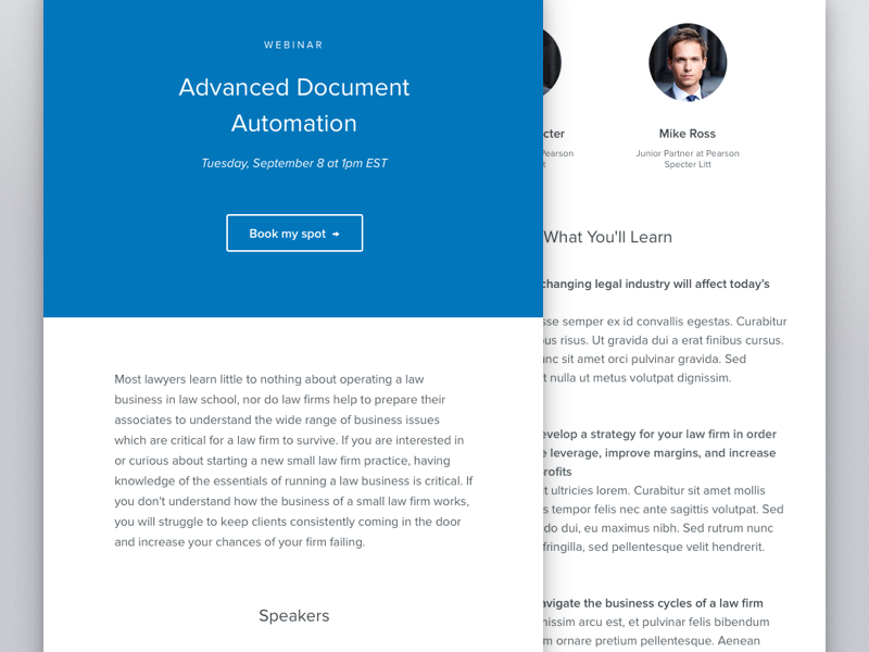 Clio Webinar Email webinar responsive layout simple clean minimal email