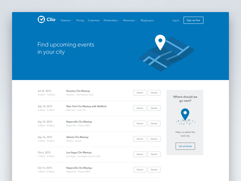 Clio Upcoming Events Page blue minimal clean ux ui grid layout website web list event upcoming