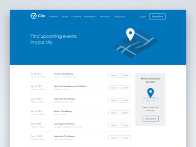 Clio Upcoming Events Page