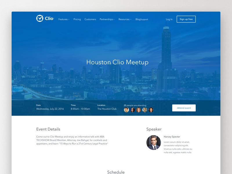 Clio Event Details Page map minimal clean ux ui grid layout website web detail event meetup