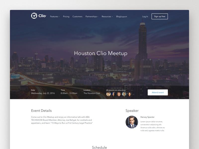 Clio Event Details Page Alternate meetup map detail event ux minimal grid website ui clean web layout
