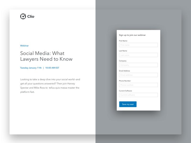 Clio Webinar Landing Concept fold form typography clean grid layout ux ui website homepage landing webinar