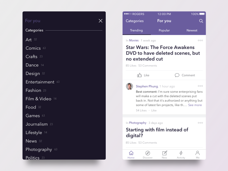 Discussion App Concept purple categories mobile interface ux ui topic discussion app ios