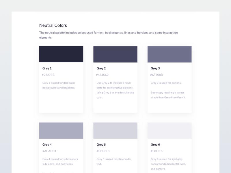 Neutral Colours kit ui brand styleguide colours colors