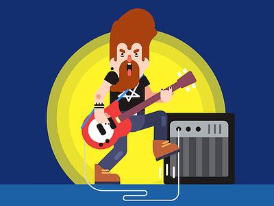 Bass Solo show bass rockroll illustration vector flat