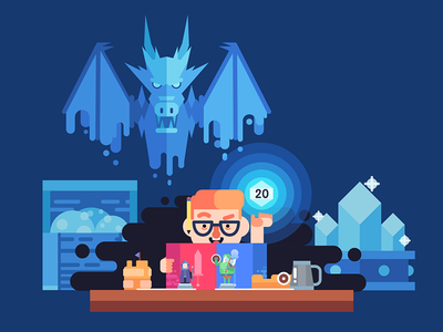Dungeon Master nerd dragon rpg dnd illustration flat vector dm