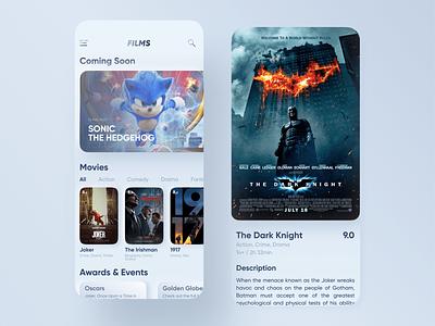 Skeuomorph Movie App sonic joker light layout skeuomorph iphone app concept movie app interface ios ux ui mobile movie film design app