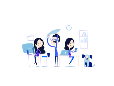 EVRY illustrations lab office work blue technology tech illustration