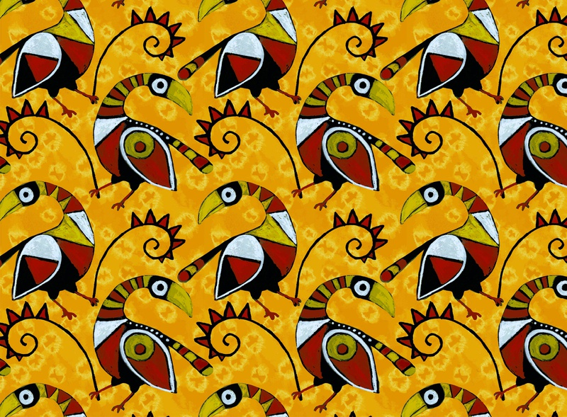 Seamless vector pattern. African birds on shibori background.