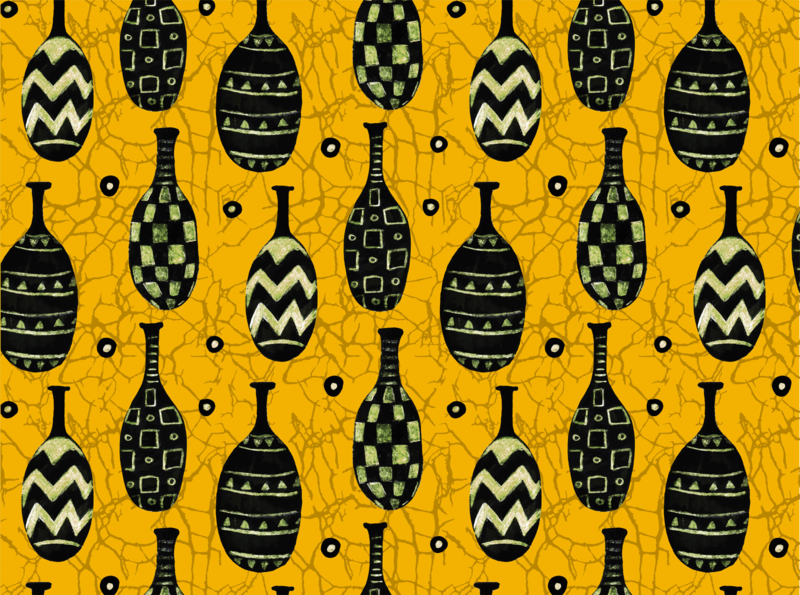 Seamless vector pattern. African jugs on craquelure background