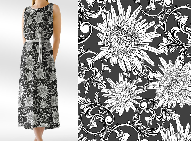 Black and white aster pattern. Seamless vector design.