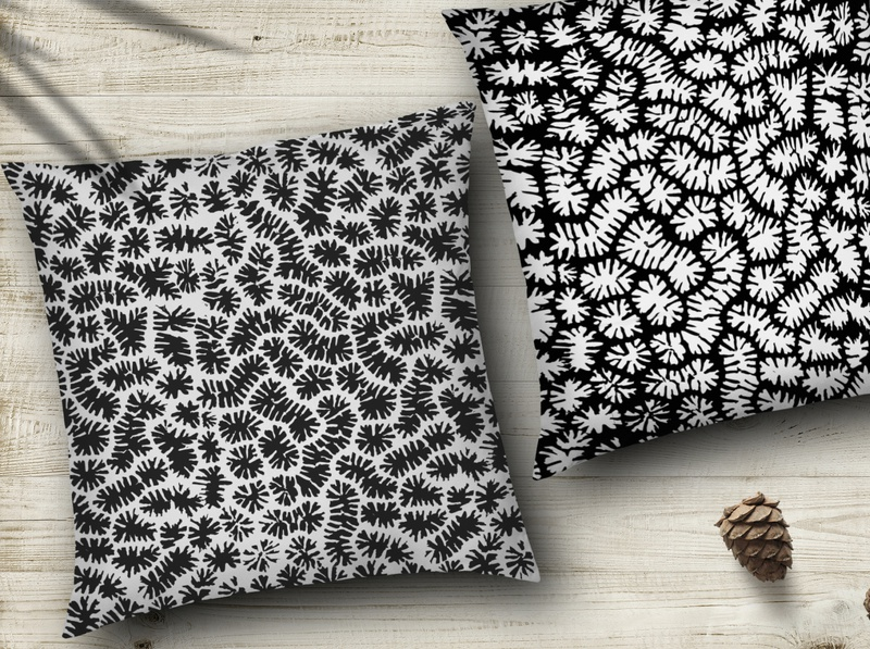 Black and white seamless corall pattern