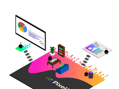 Pixelize Isometric Illustration css3 animation design web vector branding isometric illustration